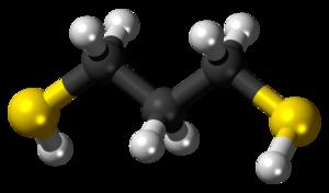 1,3-Propanedithiol - Image: 1,3 Propanedithiol 3D balls
