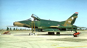 113th Air Support Operations Squadron - 113th Tactical Fighter Squadron – North American F-100D-75-NA Super Sabre 56-3198 in Vietnam War camouflage livery.
