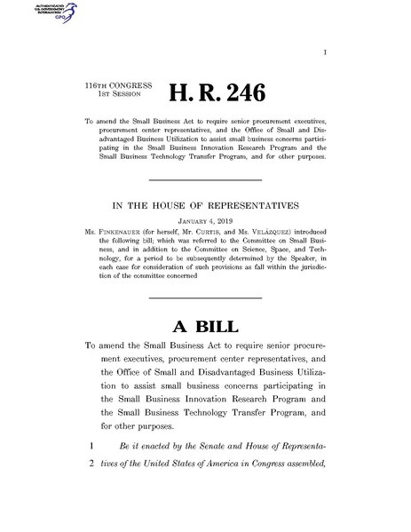 File:116th United States Congress H. R. 0000246 (1st session) - Stimulating Innovation through Procurement Act of 2019 A - Introduced in House.pdf