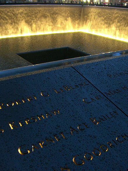 Bailey's name is located on Panel S-3 of the National September 11 Memorial's South Pool, along with those of other passengers of Flight 175 12.6.11GarnetBaileyPanelS-3ByLuigiNovi1.jpg