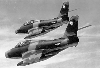 163d Fighter Squadron - 163d Tactical Fighter Squadron – F-84F Thunderstreaks about 1967 in Vietnam War camouflage livery.