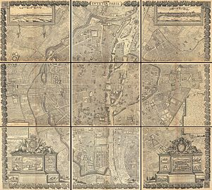 Hôtel du Petit-Bourbon - Image: 1652 Gomboust 9 Panel Map of Paris, France (c. 1900 Taride reissue) Geographicus Paris gomboust 1900