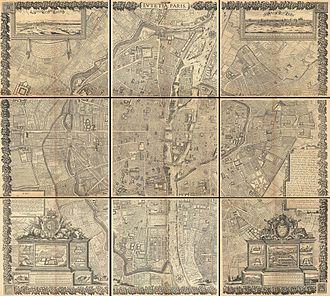 Hôtel du Petit-Bourbon - Image: 1652 Gomboust 9 Panel Map of Paris, France (c. 1900 Taride reissue) Geographicus Paris gomboust 1900