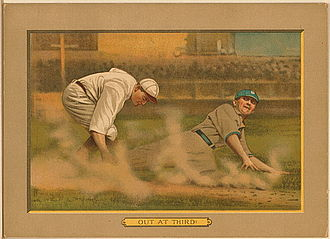 Tag out - A 1911 American Tobacco Company baseball card illustrating a baserunner being tagged out at third base.
