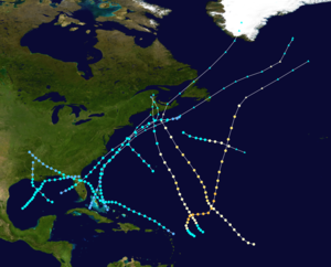 1937 Atlantic hurricane season - Image: 1937 Atlantic hurricane season summary map