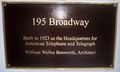195 Broadway plaque by Matthew Bisanz.JPG