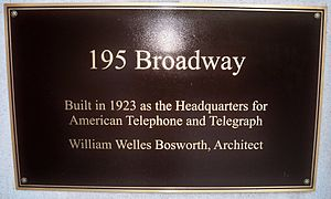 195 Broadway - Commemorative plaque