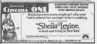 Jeannie Berlin - Berlin on newspaper advertisement for Sheila Levine Is Dead and Living in New York (1975)