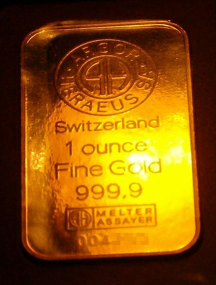 Precious metals, such as gold, are often measured in troy ounces. 1 oz of fine gold.jpg