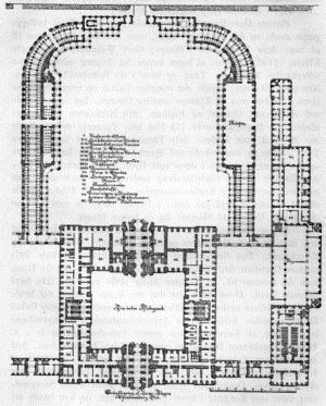 Christiansborg Palace (1st) - Plan drawing of the first Christiansborg