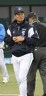20120310 Kiyosi Nakahata manager of the Yokohama BayStars, at Seibu Dome.JPG