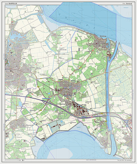 Dutch Topographic map of the municipality of Kapelle 2013