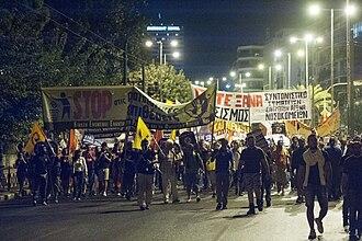 Murder of Pavlos Fyssas - 25 September 2013: Demonstration in Athens against Golden Dawn for the murder of Pavlos Fyssas.