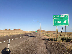 Ola exit on Interstate 80
