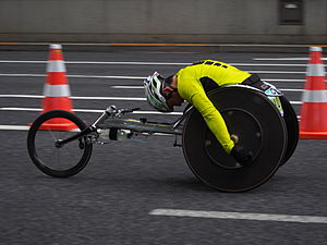 Wheelchair racing - A men's wheelchair racer at the 2015 Tokyo Marathon