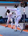 2nd Leonidas Pirgos Fencing Tournament. Irini Mavrikiou scores against Nikoletta Chatzisarantou.jpg