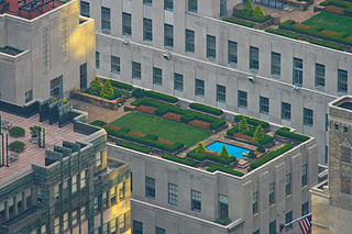 Roof garden Planted area on the top covering of a building