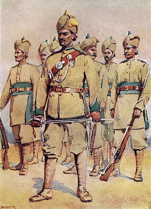 Punjab Regiment (Pakistan) - 33rd Punjabis Watercolour by Maj AC Lovett, 1910.