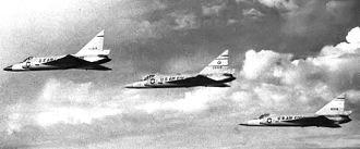 47th Fighter Squadron - 47th Fighter-Interceptor Squadron three-ship F-102 formation, about 1959