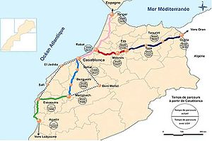 Planned high-speed rail by country - Moroccan high speed rail service program (by 2035).