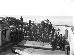 9 inch gun and crew Fort Scratchley 24 May 1890 Flickr 3631694466.jpg