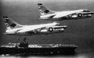 VFA-146 - VA-146 A-7s over USS Constellation