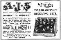 "Advertentie voor de AJS ""wireless receiver"" uit 1923"