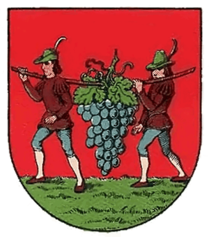 Coat of arms of Weinhaus, Vienna. Shows Israel...