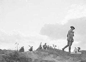 52nd Battalion (Australia) - Troops from the 52nd advance towards the fighting around Mont St Quentin, 1918