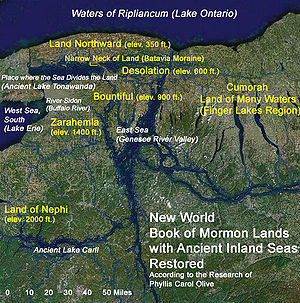 Limited geography model - Map showing possible lands and sites of the Book of Mormon near scriptural Cumorah (Doctrine and Covenants 128:20)
