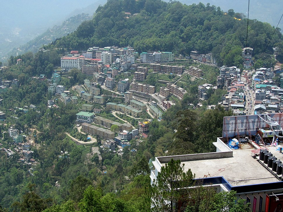 A Overhead view of Gangtok from the ropeway facility