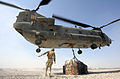 A Royal Air Force Chinook Helicopter Lifts Supplies at Camp Bastion, Afghanistan MOD 45153338.jpg