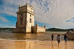 White tower near the sea.