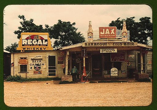 "A cross roads store, bar, ""juke joint,"" and gas station in the cotton plantation area, Melrose, La. LCCN2017877468"
