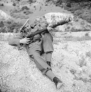 No. 68 AT Grenade - A member of the Home Guard demonstrates a rifle equipped to fire an anti-tank grenade, Dorking, 3 August 1942.