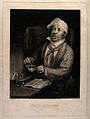 A sick man mixing a dose of medicine for himself from a book Wellcome V0016564.jpg