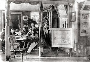 Abbaye de Créteil - Image: Abbaye de Créteil, interior scene, circa 1907