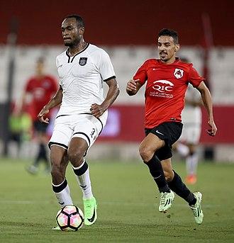 Abdelkarim Hassan - Abdelkarim Hassan and Abdurahman Al-Harazi competing in a Qatar Stars League match in April 2017.