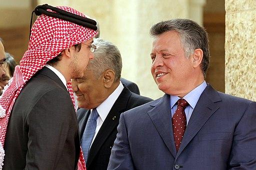 Jordan's King Abdullah II (right) welcomes Palestinian president Mahmud Abbas before a meeting at the Royal Palace in Amman