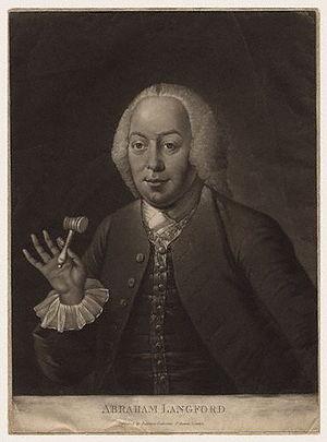 Abraham Langford - Abraham Langford, 18th century mezzotint.