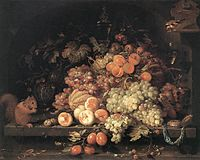 heap of fruit with a squirrel and a bird