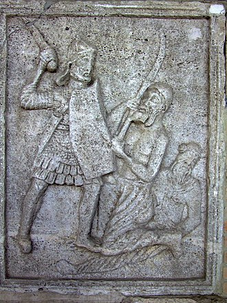 Manica (armguard) - Tropeum Traiani Metope XX Legionary with manica laminata and sword, facing a Dacian falxman