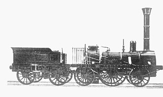 History of rail transport in Germany - The Adler (built 1835) in an 1850 photograph