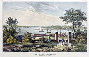 Bennelong Apartments - View east across Sydney Cove, c. 1841