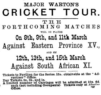 English cricket team in South Africa in 1888–89 - Advertisement for the First Test.