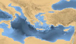 Map of eastern Mediterranean and Greece during 10.000 BCE.