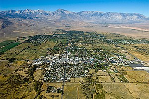 Bishop, California - Aerial view of Bishop, looking west. Line Street, Bishop's main East-West Street, is in center left, running from the bottom of the photo into the distance.