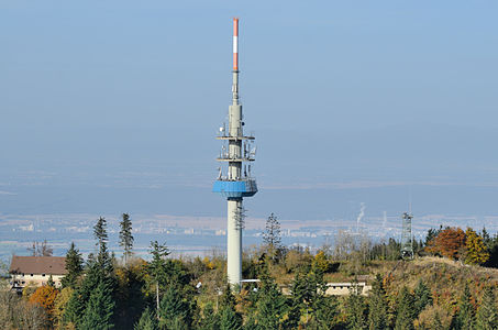Aerial view at summit of Hochblauen (1164 m) and communication tower