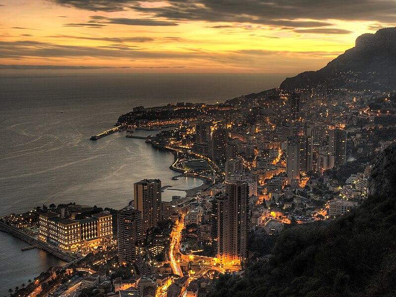File:Aerial view of Monaco at dusk.jpg