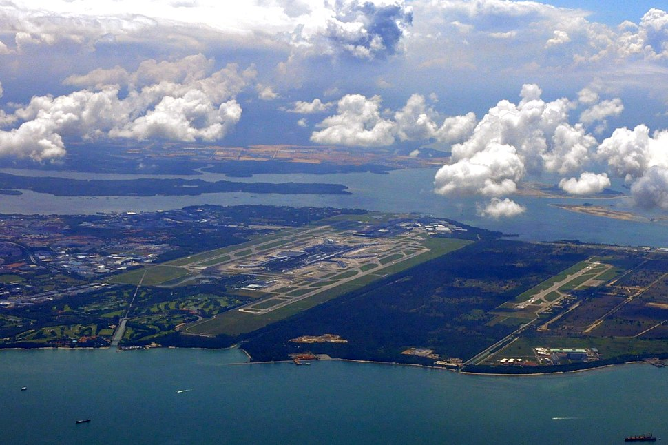 Aerial view of Singapore Changi Airport and Changi Air Base - 20110523